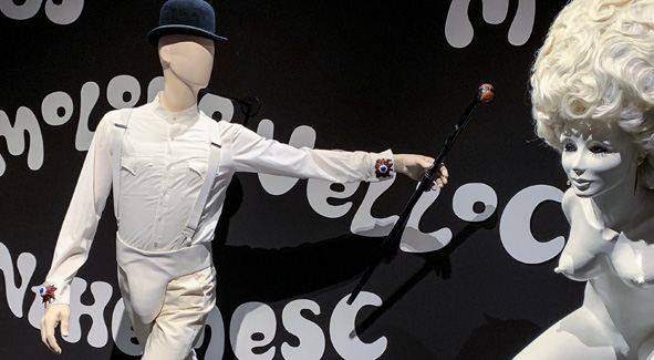 A Clockwork Orange costume at the Kubrick Exhibition